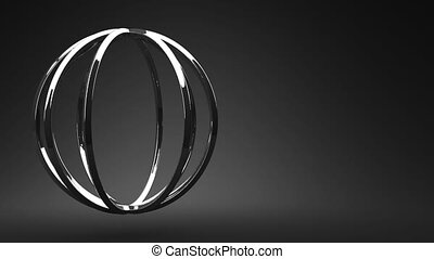 Silver Circle Abstract On Black Text Space. Loop able 3DCG...