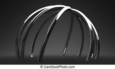Silver Circle Abstract On Black Background Loop able 3DCG...