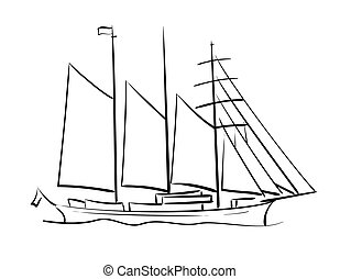 sailing ship - vector