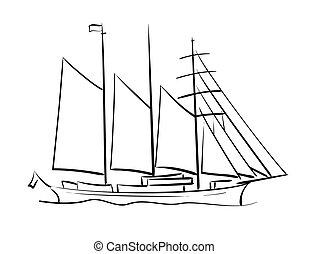sailing ship - vector