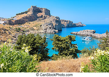 St Pauls bay. Lindos, Rhodes, Greece - View of Acropolis and...