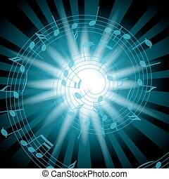 blue music background with flash