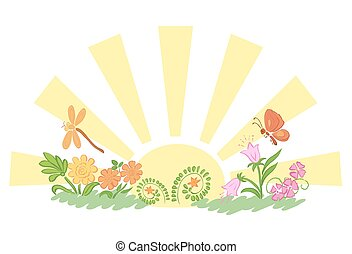 sun with flora and fauna - vector