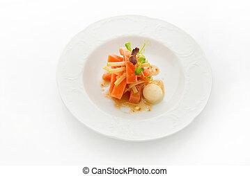 Gourmet dish. Smoked salmon on white background