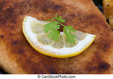 Schnitzel with lemon macro