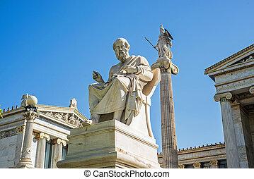 estatua, de, Plato, en, atenas,