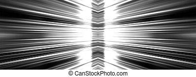 Radiating light on black - Radiating white light burst...