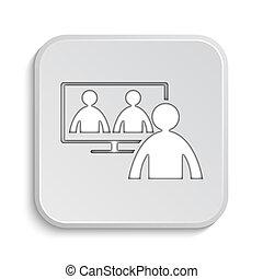 conferencia, en línea,  vídeo, reunión, icono