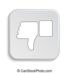 Thumb down icon Internet button on white background