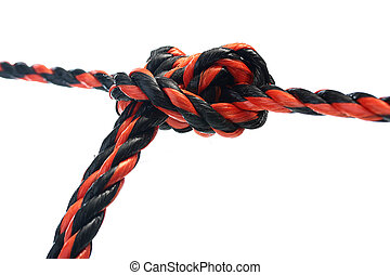 Sliding knot - The sliding knot. Two cords are fixed by...