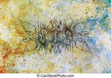 dekorativ, altes, Struktur, Farbe,  Collage, feuerdrachen, Papier, hintergrund, edv, Zeichnung