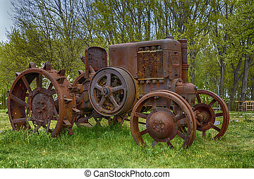 old metal tractor left on a farm