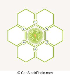 Abstract hexagons for your text and vegan icon