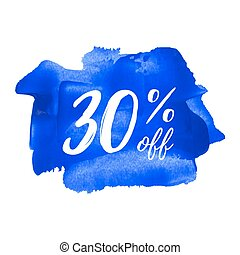 Sale 30% off blue card, poster, logo, lettering, words, text written on painted background vector illustration