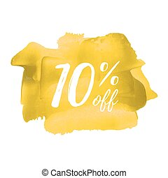Sale 10% off card, poster, logo, lettering, words, text...