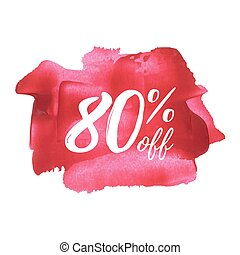 Sale % off card, poster, logo, lettering, words, text written on painted background vector illustration