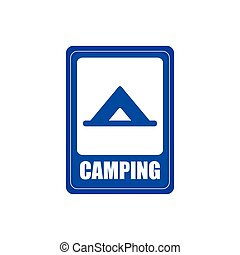 Transit signal - Isolated blue transit signal with a camping...