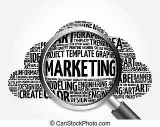 MARKETING word cloud with magnifying glass