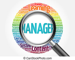 Manager word cloud with magnifying glass, business concept