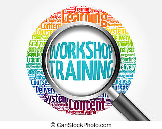Workshop Training word cloud with magnifying glass, business...