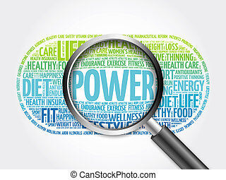 POWER word cloud with magnifying glass, health concept