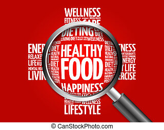 Healthy Food word cloud with magnifying glass