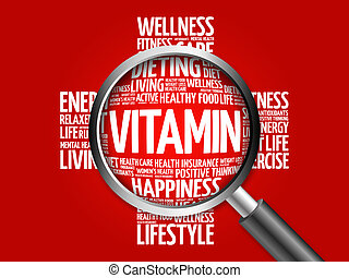 VITAMIN word cloud with magnifying glass, health concept