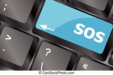 computer button with sign sos key. Keyboard keys icon button vector
