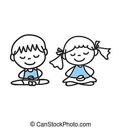 hand drawing cartoon people meditation with happiness and...