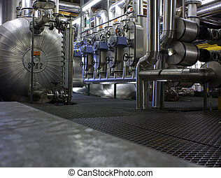 technical room with tubes and boiler