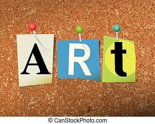 "Art Concept Pinned Letters Illustration - The word ""ART""..."