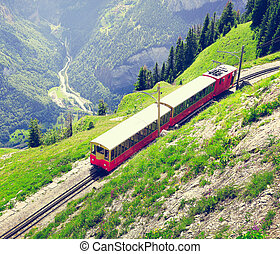 Retro passenger train. - Retro passenger train moves from...