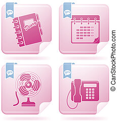 Flamingo Square 2D Icons: Web Misce - Vector icons set saved...