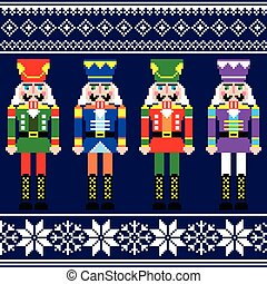 Christmas patter with nutcracker - Winter, Xmas pattern or...