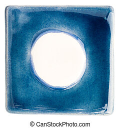 Handmade glazed ceramic tile - Blue handmade glazed ceramic...