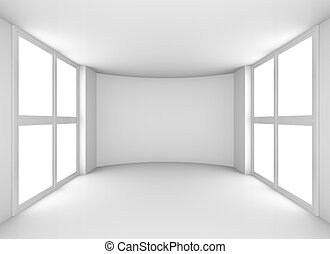 Exhibit empty white showroom with windows. 3D rendering