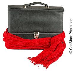 Suitcase with red scarf - Recovering business, Suitcase with...
