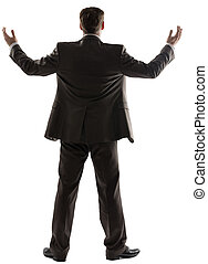 Rear view of successful businessman with arms up - Rear view...