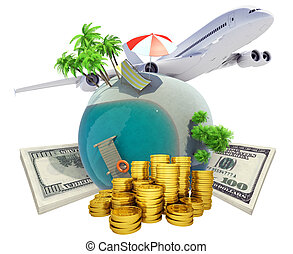 Travel beach concept Airplane, beach globe and money 3D...