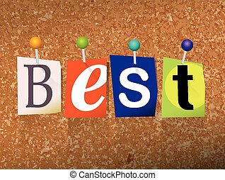 "Best Concept Pinned Letters Illustration - The word ""BEST""..."
