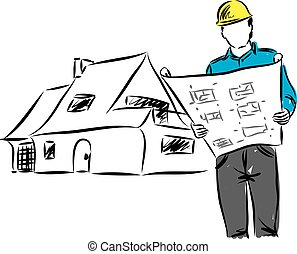 ARCHITECT WITH PLANS ILLUSTRATION