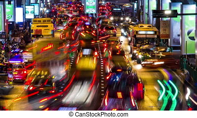 Bangkok evening traffic time lapse - Colorful Bangkok...