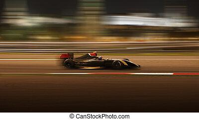 Race car racing at high speed - Formula 2.0 race car racing...