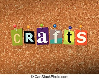 Crafts Concept Pinned Letters Illustration - The word CRAFTS...