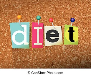 Diet Concept Pinned Letters Illustration - The word DIET...