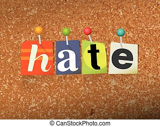 Hate Concept Pinned Letters Illustration - The word HATE...