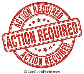 action required red grunge round vintage rubber stamp