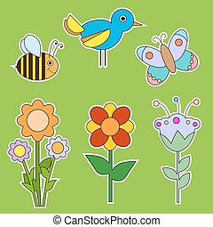 Cute flower, bird and insect collection isolated over green...