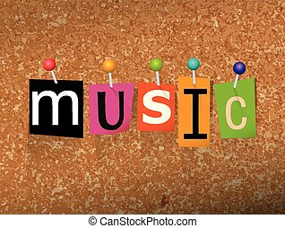 """Music Concept Pinned Letters Illustration - The word """"MUSIC""""..."""