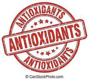 antioxidants red grunge round vintage rubber stamp